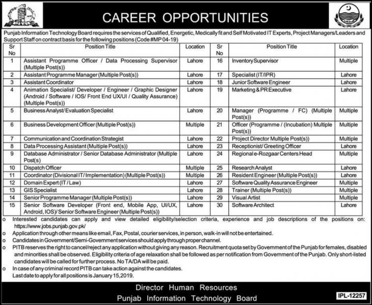 PITB Jobs 2020 Punjab Information Technology Board Apply Online Latest