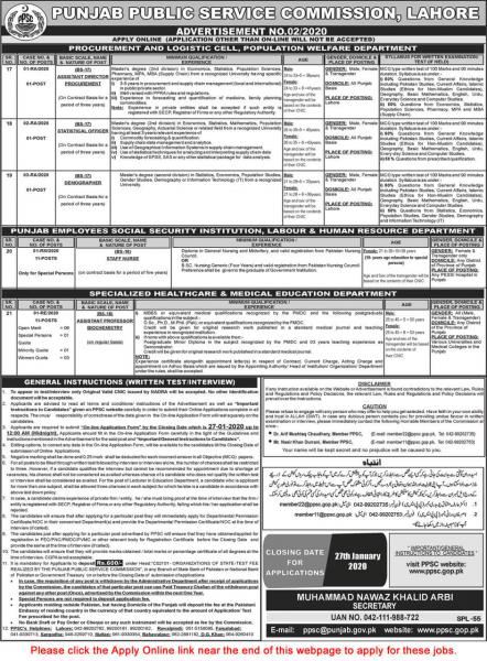 PPSC 2020 Jobs Today - Advertisement No.02/2020 - Apply Online