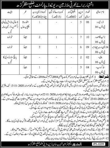 Revenue Department Jobs For Driver, Naib Qasid & Other Vacancies 2020