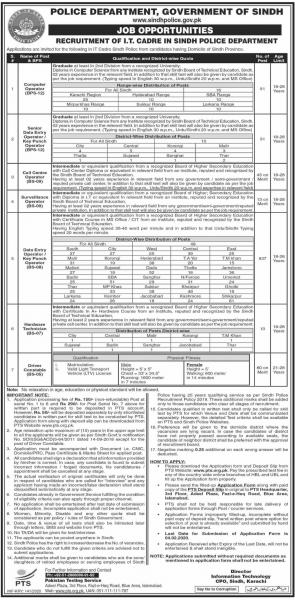 Sindh Police I.T Cadre Jobs 2020 Karachi & Other Cities By PTS