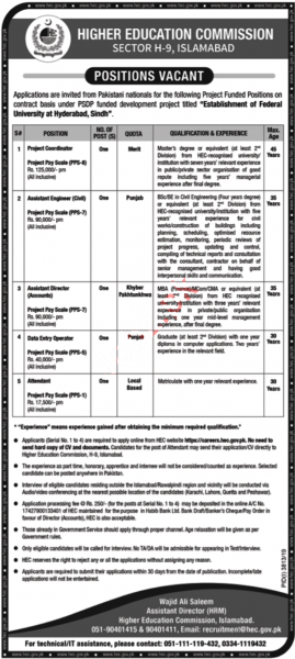 Jobs In Higher Education Commission - HEC Jobs January 2020