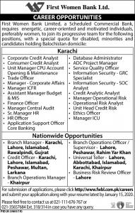 Career Opportunites In First Women Bank Ltd 2020