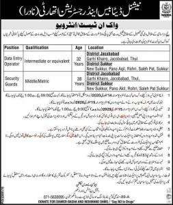 NADRA Jobs 2020 For Data Entry Operators & Security Guards In Sukkur