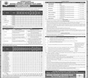 NHMP Jobs 2020 Advertisement For General & Disabled Candidates