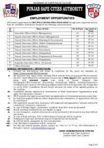 PSCA Jobs 2020 - Punjab Safe Cities Authority Jobs 2020 Apply Online