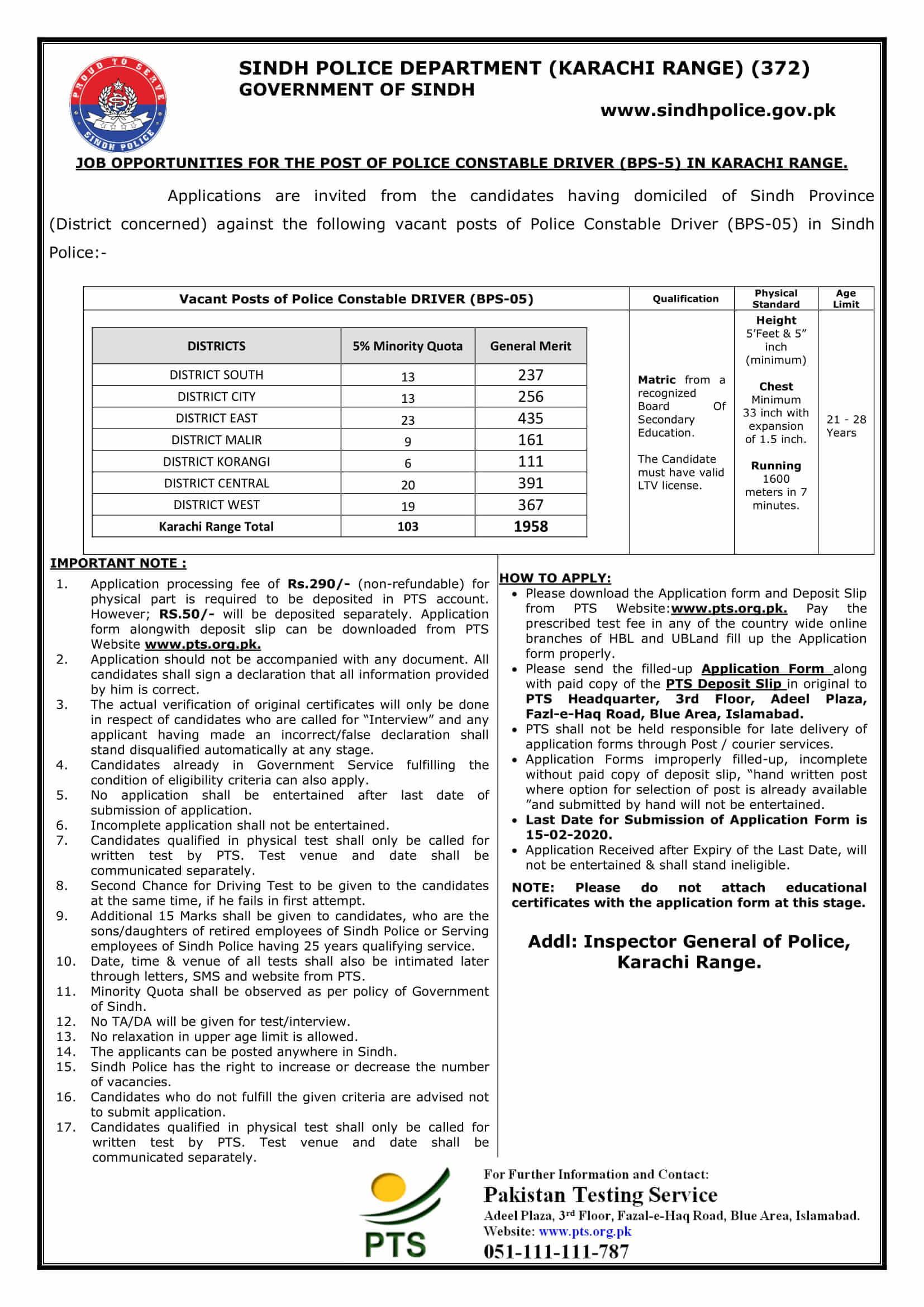 sindh police jobs 2020 karachi for police constable driver