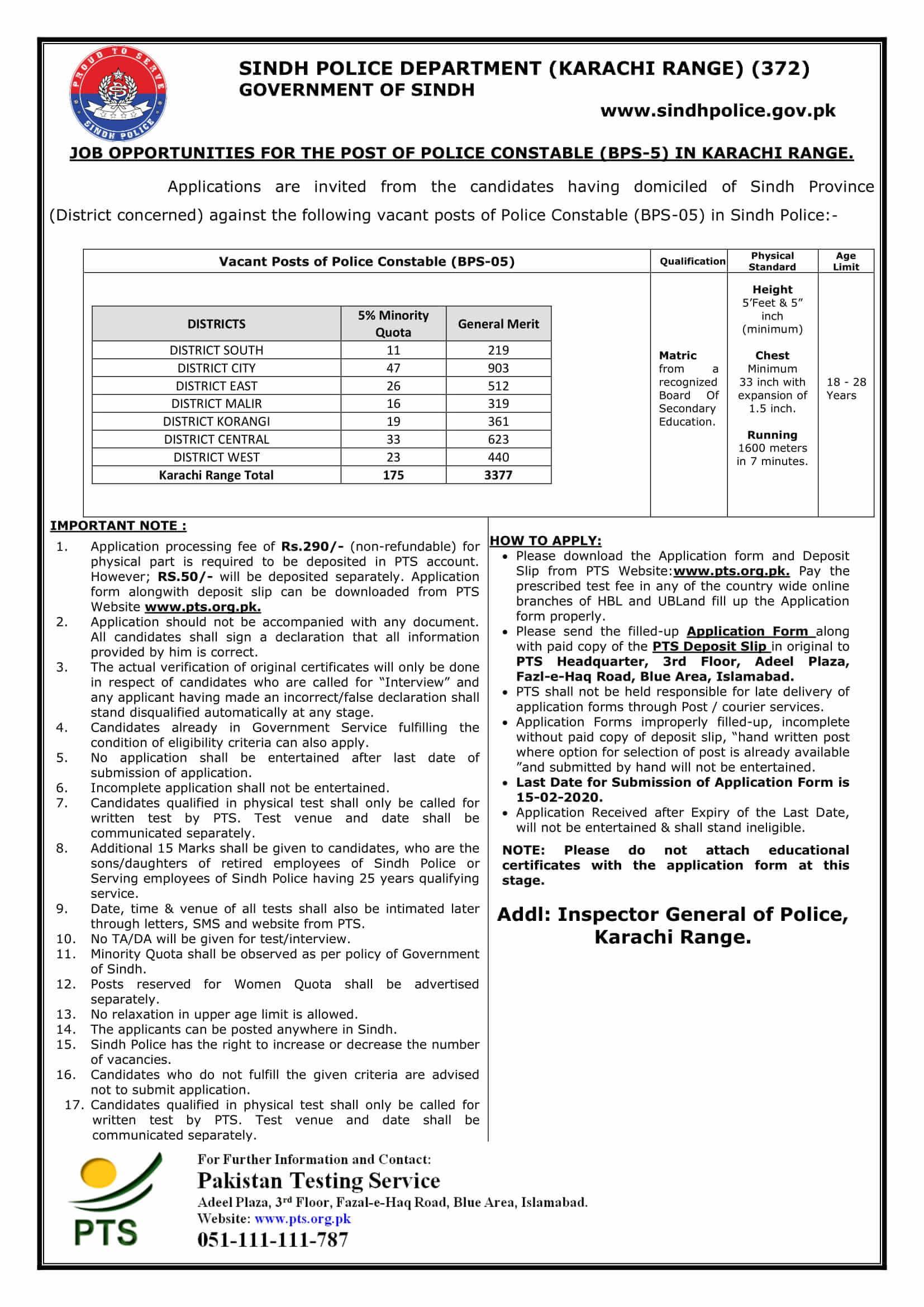 sindh police jobs 2020 karachi for police constables