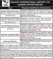Sialkot International Airport Ltd. Jobs 2020 - Career Opportunities