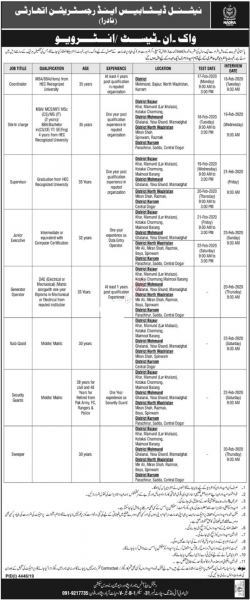 NADRA Jobs 2020 Peshawar - Walk-In-Test or Interview