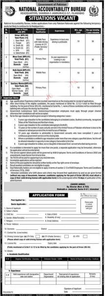 National Accountability Bureau NAB Latest Jobs 2020 In Pakistan