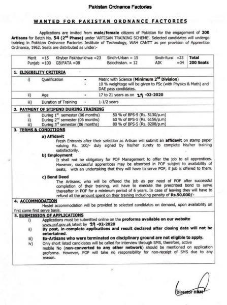 Pakistan Ordnance Factories (POF) Artisan Training Scheme Jobs 2020