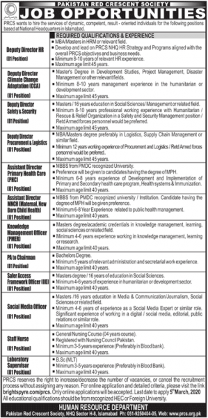 Pakistan Red Crescent Society (PRCS) Latest Jobs February 2020