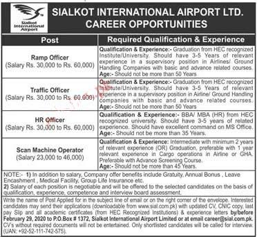 SIALKOT INTERNATIONAL AIRPORT LTD LATEST JOBS 2020