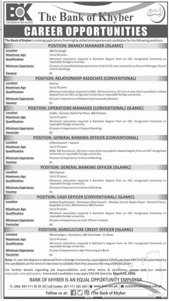The Bank Of Khyber Jobs February 2020