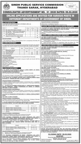 Sindh Public Service Commission Jobs - SPSC Advertisement No. 01/2020