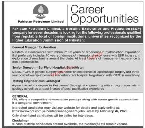 Pakistan Petroleum Limited (PPL) Jobs February 2020