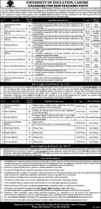 University Of Education, Lahore Vacancies For Non-teaching Posts 2020
