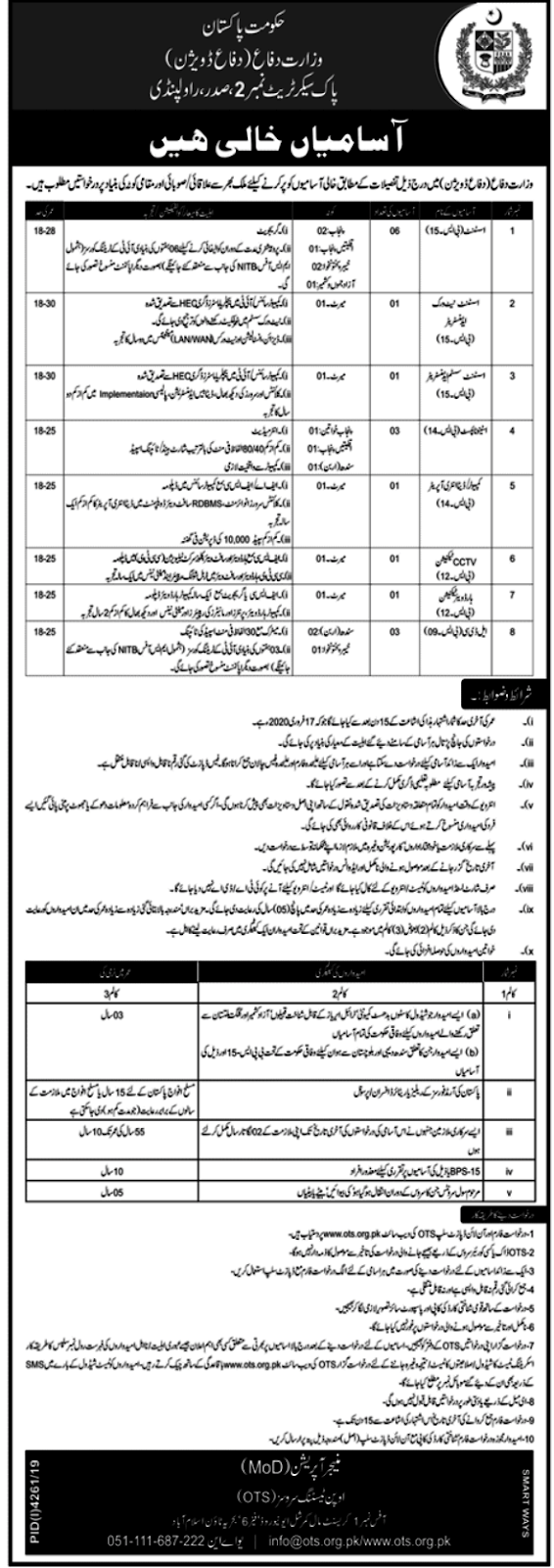 ministry of defence ots jobs 2020