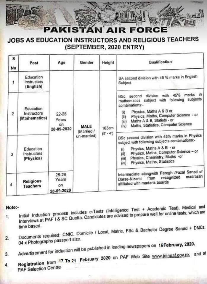PAF jobs 2020