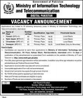 Ministry Of Information Technology & Telecommunication Jobs February 2020