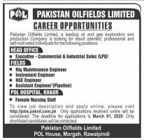 PAKISTAN OILFIELDS LIMITED JOBS FEBRUARY 2020