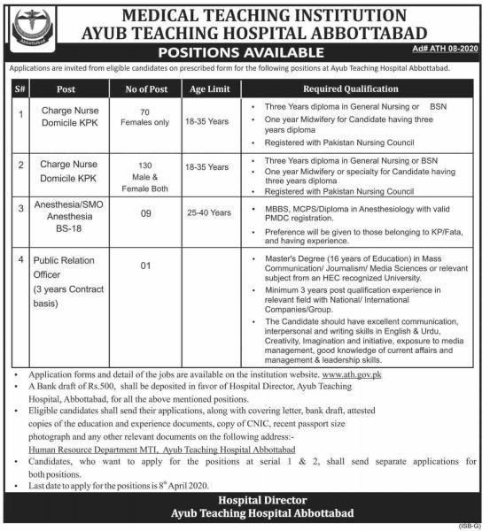 Ayub Teaching Hospital Abbottabad Jobs March 2020