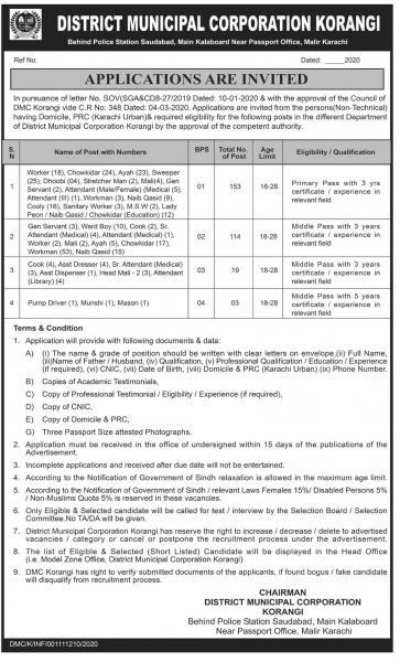 District Municipal Corporation Korangi Jobs 2020
