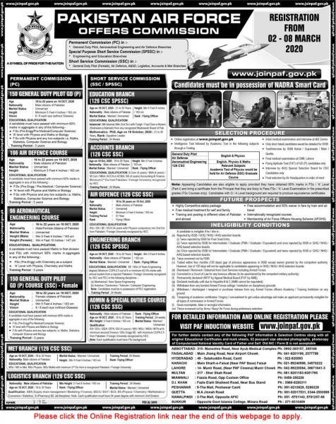 Pakistan Air Force Jobs 2020 - Join PAF www.paf.gov.pk Jobs 2020