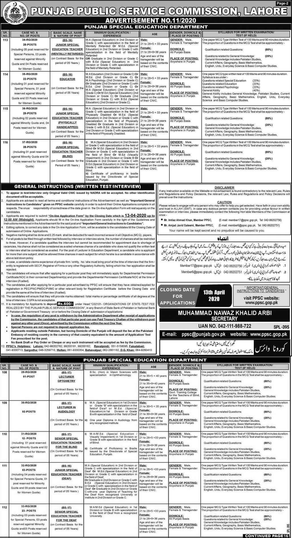 educators jobs ppsc 2020