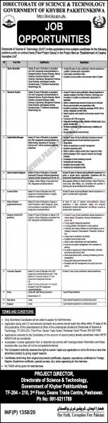 Directorate of Science and Technology (DoST) Jobs April 2020