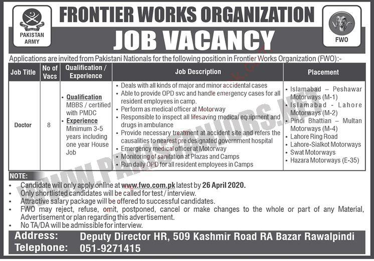 Jobs For Doctors In FWO - Frontier Works Organization fwo.com.pk Apply Online