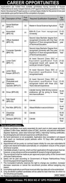 Public Sector Organization PO Box 47 GPO Peshawar Jobs April 2020
