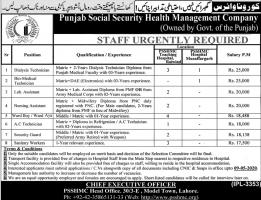 PSSHMC Jobs 2020 - Punjab Social Security Health Management Company