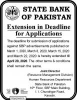 State Bank Of Pakistan SBP Jobs 2020 [Date Extended]