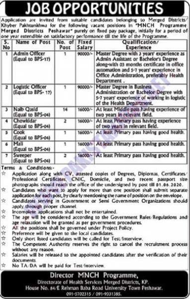 Jobs In MNCH Program Merged Districts Peshawar