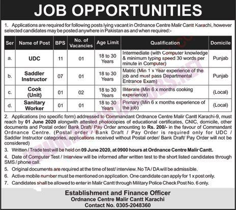 Ordnance Center Malir Cantt Karachi Jobs May 2020