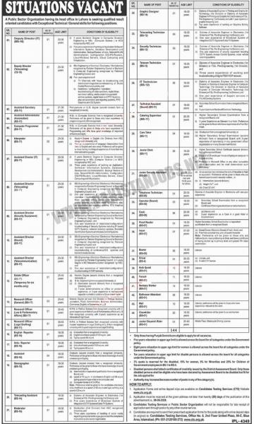 Public Sector Organization Jobs In Lahore May 2020