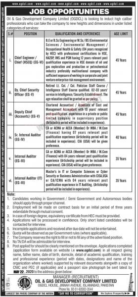 Oil & Gas Development Company Limited (OGDCL) Jobs May 2020