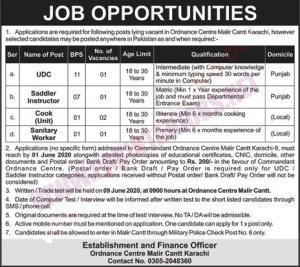 Ordnance Center Malir Cantt Karachi Jobs May 2020