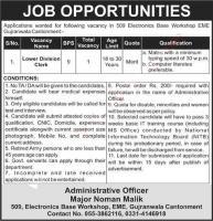 Clerk Jobs in 509 Electronics Base Workshop EME Gujranwala May 2020