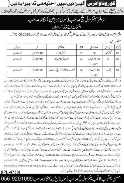 Civil Court Nankana Sahib Jobs June 2020