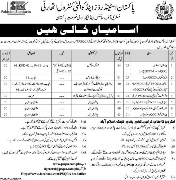 Pakistan Standards & Quality Control Authority Jobs June 2020