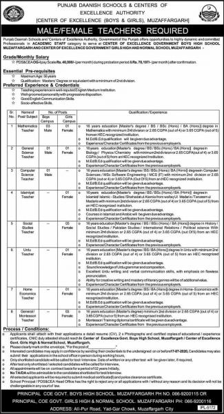 Punjab Danish School Teaching Jobs June 2020