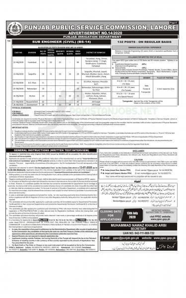 Punjab Irrigation Department PPSC Civil Engineer Jobs 2020