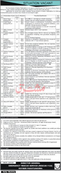 Rescue 1122 Jobs 2020 KPK - PTS Application Form - Apply Online