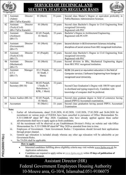 Federal Government Employees Housing Authority FGEHA Jobs June 2020