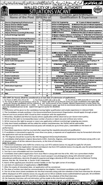 Walled City Of Lahore Authority WCLA Jobs 2020 - NTS Application Form