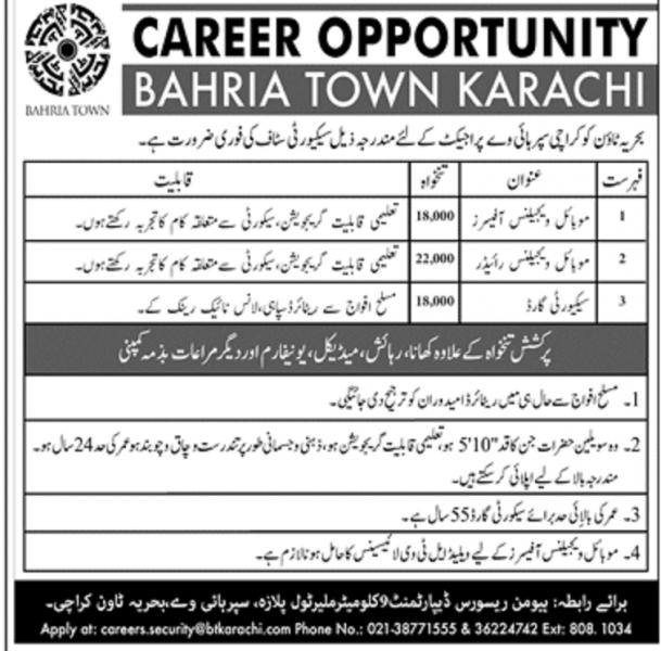 Bahria Town Karachi Jobs July 2020