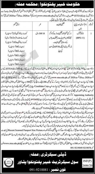 Civil Secretariat KPK Jobs July 2020