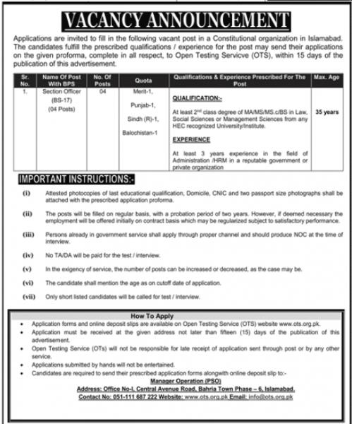 Constitutional Organization Jobs 2020 By OTS (www.ots.org.pk) Apply Online